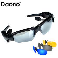DAONO Sport Stereo Wireless Bluetooth Headset 3 colorful Sun lens Earphones Sunglasses mp3 Riding Glasses for lenovo sony xaomi(China)