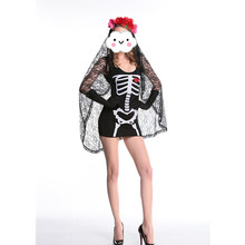 2016 Adult Skeleton Day of The Dead Costume Women's Sexy Sugar Skull Dead Flower Fairy Halloween ghost vampire bride Fancy Dress