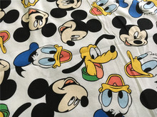 50*170cm Lovely Mickey Donald Duck Terry Cotton Fabric For Sewing diy Patchwork Parent-child Clothing ,Children's clothes(China)