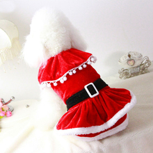 2015 New Arrival MRS Santa Claus Dog Clothes Christmas Coat Apparel Pet Dog Cat Red Winter Dress Xmas New Year Festive Costume(China)