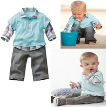 Children's outfit,boy's long-sleeved turn-down collar grid vest T-shirt+trousers baby 2 pieces set,infant casual wear