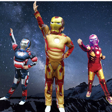 Avengers Iron Man Halloween Costume for Kids Muscle Jumpsuits Mask Children Boys Clothes Marvel Movie Superhero Cosplay Clothing