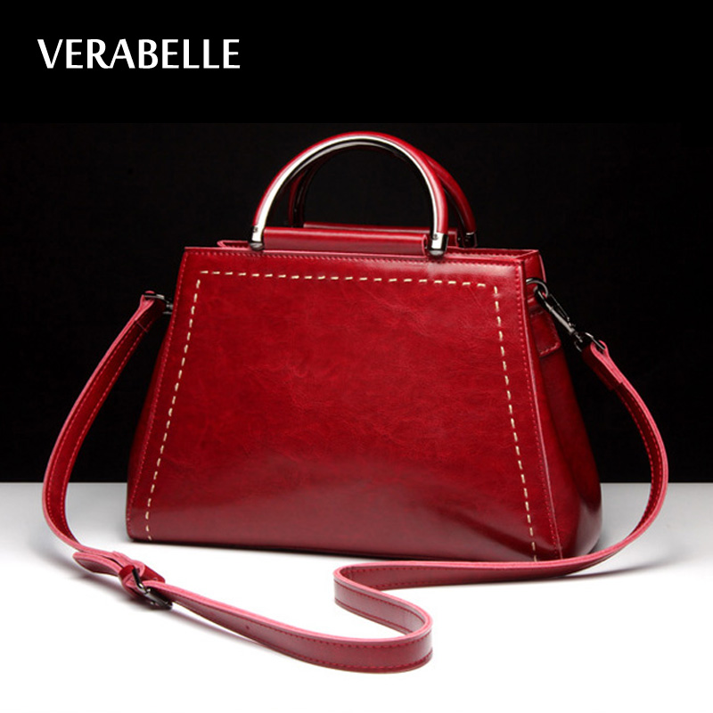VERABELLE 2017 leather cowhide top-handle women handbag high quality vintage totes messenger shoulder thread oil-wax female bags<br>