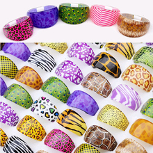Wholesale 10pcs Resin Animals Skin Styles Costume Rings For Women Girls Bulk Lots Mix Colorful Vintage Jewelry Cheap Free(China)
