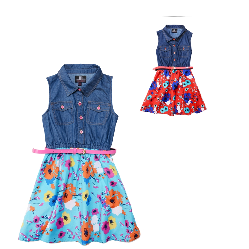 Infant Baby Denim Girls Dresses Summer 2016 Print ...