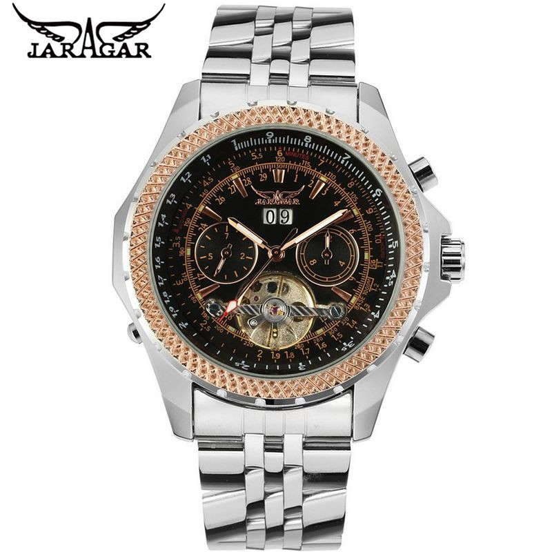 2017 JARAGAR  Luxury Watches Men Tourbillion Automatic Mechanical Watch Wristwatch+Gift Box Free Ship<br>