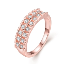 Summer Jewelry New Style Rose Plated 2 Row White Crystal Rings for Women Fashion Jewelry Best Friendship Gifts