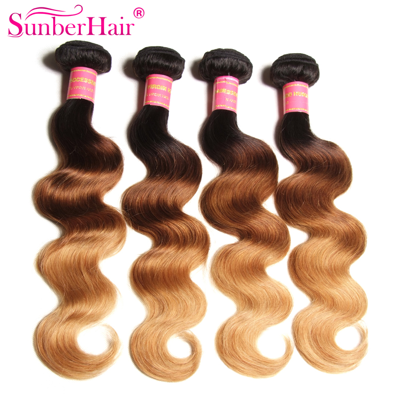 Ombre Hair Extensions Indian Virgin Hair Body Wave 3 Bundles Three Tone #1B/4/27 Ombre Human Hair Weave Wet and Wavy Indian Hair<br><br>Aliexpress