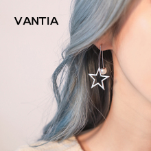 VANTIA 925 Sterling Silver Hight Quality Pearl Pendant Crystal Star Stud Earrings Hollow five-pointed Star Women Long Ear Chain