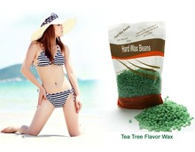 Free paper depilatory waxhair removal wax beans tea tree flavor solid wax treatment particle 300G loaded Body hair removal()