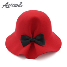 [AETRENDS] 2017 New Bow Tie Lady Fedoras Wool Felt Hats for Women Fedora Cap Girl Panama Hat Z-5961()