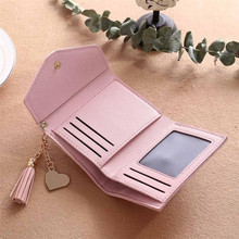 2017 Women's purse Wallet card Women Simple Child girl bag Bolsos formas Short Wallet Tassel Coin Purse Card Holders Handbag E30