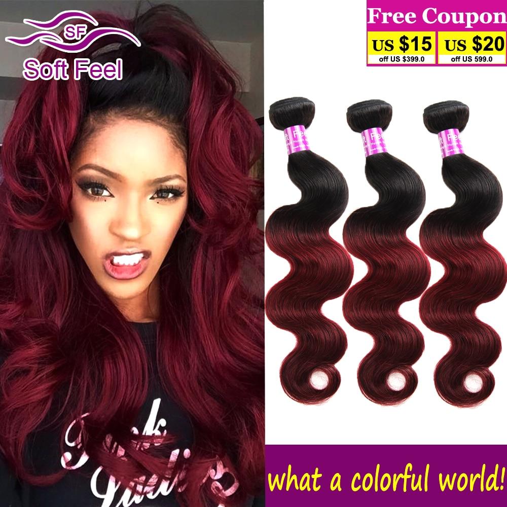 7A Grade Brazilian Virgin Hair Body Wave 3 Bundles Ombre 1b Burgundy Brazilian Hair Weave Bundles Deals Kiss Queen Hair Products<br><br>Aliexpress