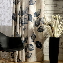 New Curtains for living room Pastoral style Curtain hooks Leaves Printed Window Treatments Home Decoration Living room curtain