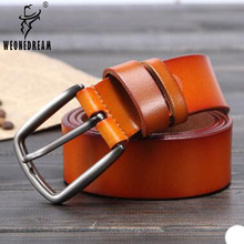 WEONEDREAM 2017 New Design High Quality Leather Belts Men Pin Buckle Fashion Black/Camel/Dark Red/Brown Color Men Luxury Belt