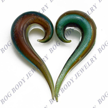 Green And Brown Dichroic Glass Ear Plugs Tapers Expanders Gauges Spiral Sold As Pair-BOG(China)