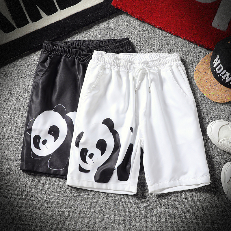 Men's Summer Casual Loose Plus Size 3D Cartoon Panda Printed Drawstring Short M-5XL