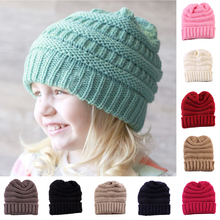 8 Colors Baby Kids Girls Boys Warm Winter Wool Knitting Beanie Hat Crochet Ski Ball Cap