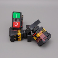AS-22N 25N Start-stop Double Pushbuttons Switch With LED Lamp(Mounting hole 22mm 25mm)(DC 6/12/24/36/48 V AC110/220/380V)