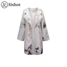 Sishot casual coats 2017 summer gray floral prints loose wrapped mid length patchwork lapel spliced long sleeve casual coat(China)