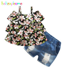 2PCS/4-10Years/Summer Korean Kids Clothes Flowers T-shirt+Denim Shorts Baby Girls Boutique Outfits Children Clothing Sets BC1598