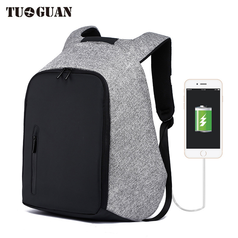 TUGUAN Fashion Men Waterproof Anti Theft Backpack School Bags Travel Business USB Charge Laptop Back Pack Bagpack for Teenager<br>