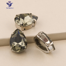 YANRUO 4320S Drop Black Diamond Teardrop Rhinestones Sew On Claw Crystal Silver Base Pointbak Loose Strass For Clothes