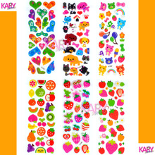 6 Sheets Kawaii Cute Fruits Pets Animals Scrapbooking Bubble Puffy Stickers Emoji Reward Kids Children Toys Factory Direct Sales(China)