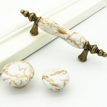 1pcs Wall Cabinet Knob Door Handle Decorative Ceramic Knobs and Pulls Round Marble Pattern Ceramic Drawer Handle With Screws