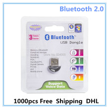 Wholesale 1000pcs Bluetooth USB 2.0 Dongle Adapter smallest bluetooth adapter V2.0 USB Dongle 10m PC Laptop Free shipping DHL