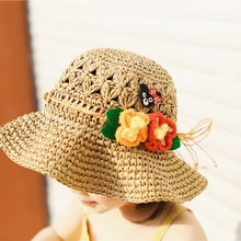 Gir Summer Hat Kids Straw Cap with Flower and Cute Bear Children costume Toddler Bonnet touca de inverno sombrero 2-8Y