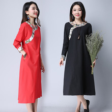 New Chinese Style Cotton Linen Girl Long Sleeves Fashion Printed Autumn Dress Women Loose Fit Frog Cheongsam 9121ALD45(China)