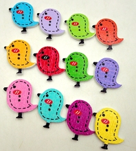Wooden Buttons colorful bird 2 holes for handmade Gift Box Scrapbook Craft Party Decoration DIY favor Sewing draw Accessories