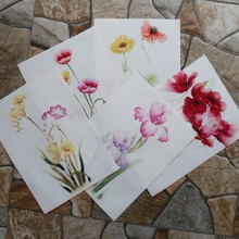 Flowers digital printed cloth 15*20cm handmade diy patchwork for making purse Poppy Watercolor design cotton wall decora(China)