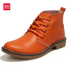 WeiDeng Women Ankle Boots Fashion Outdoor Winte Lace up Genuine Leather Classic Military Botas High Top Casual Waterproof Shoes