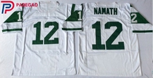 Embroidered Logo Joe Namath 12 white green throwback high school FOOTBALL JERSEY for fans gift cheap 1107-40(China)
