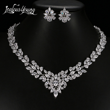 Luxury AAA Flower Cubic Zirconia African Beads Nigerian Jewelry Set for Women Earrings & Necklace Bridal Jewelry Sets AS085