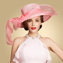 Queen Pink Wedding Hat For Women Elegant Summer Big Brim Linen Hat With Bowknot Ladies Girl's Kentucky Derby Hats