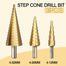 3Pcs/lot Professional HSS Steel Large Step Cone Hex Shank Coated Metal Drill Bit Cut Tool Set Hole Cutter 4-12/20/32mm Wholesale(China)