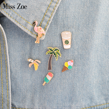 Miss Zoe 6pcs/set Flamingo Coconut Trees Ice Cream Banana Coffee Brooch Button Pins Denim Jacket Pin Badge Jewelry Gift for Kids