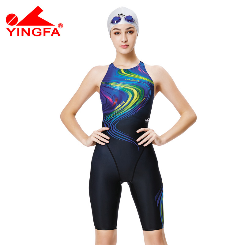 Yingfa 2017 new competition knee length waterproof chlorine low resistance womens swimwear girls training  racing swimsuit<br>