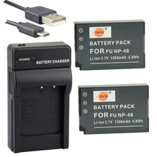 DSTE 2PCS NP-48 Li-ion Battery + UDC30 USB Port Charger for Fuji FinePix XQ1 Digital Camera(China)