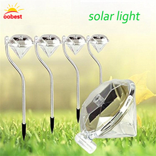 Diamond Shape Solar Power panel Garden Stake Lights waterproof Lawn Landscape Pathway Night Lamps warm White RGB lamp light