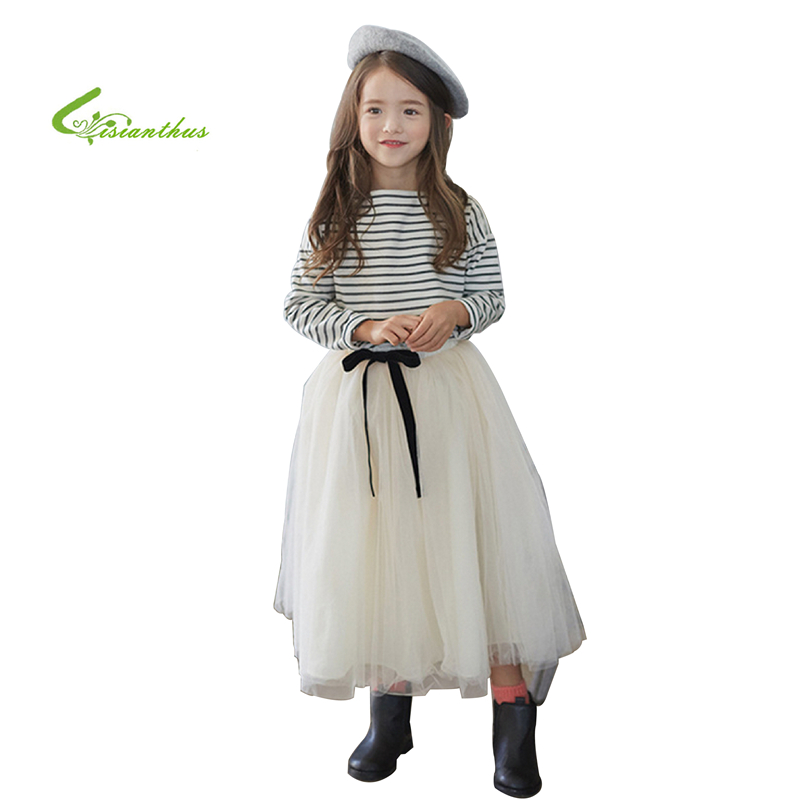 2017 Newest Fashion Girls Clothing Sets Stripe Long Sleeve T-shirts Gauze Long 2 Piece Fashion Children Clothing Drop Shipping<br><br>Aliexpress