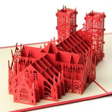 Creative gift Kirigami handmade pop up cards card church buliding greeting 3d best wishes gift business greeting cards creative