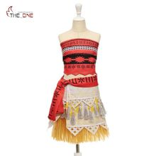 MUABABY Girls Moana Costume Little Girls Advanture Outfit Children Summer Beach Dress Kids Halloween Cosplay Dresses Clothing