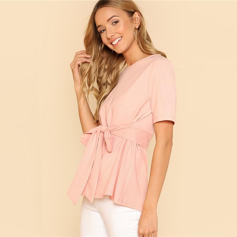Sheinside Self Belt Keyhole Back Blouse Solid Short Sleeve Top 18 Summer Women Office Ladies Work Elegant Blouse 11