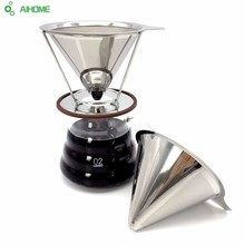 Reusable Coffee Filter Holder Sets Stainless Steel Brew Drip Cone Funnel Coffee Tea Filter Basket Tools