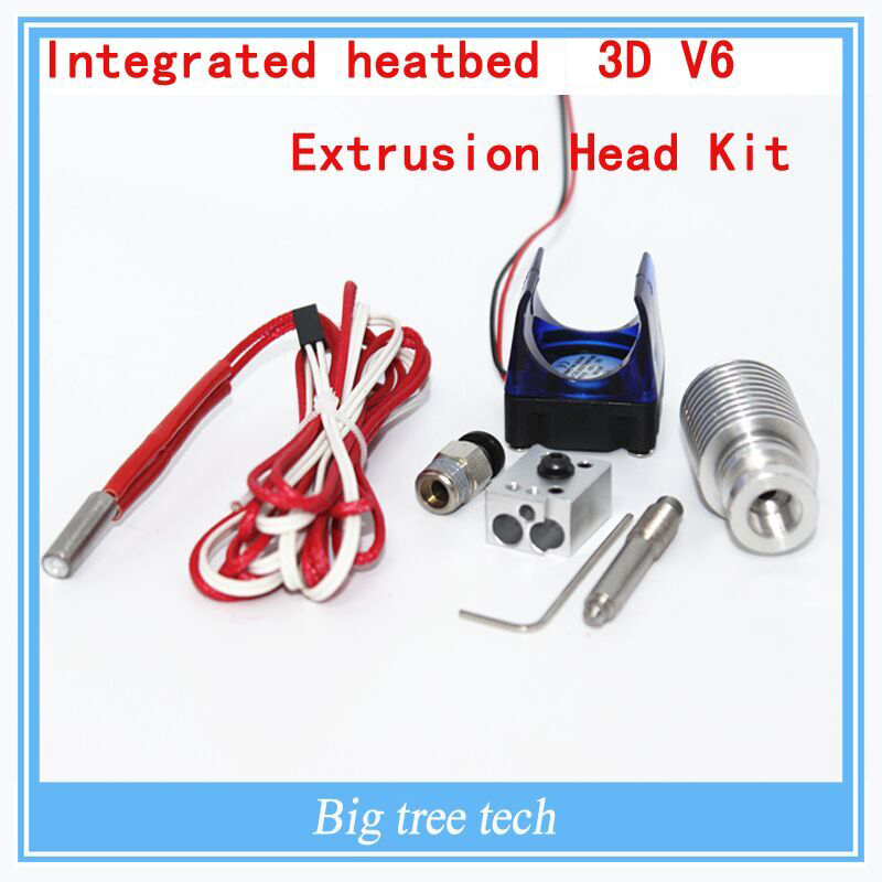 3d printer integrated heat bed 3D V6 extrusion head kit / remote feed nozzle and 12V fan / 12V40W heater  remote extrusion kit<br><br>Aliexpress
