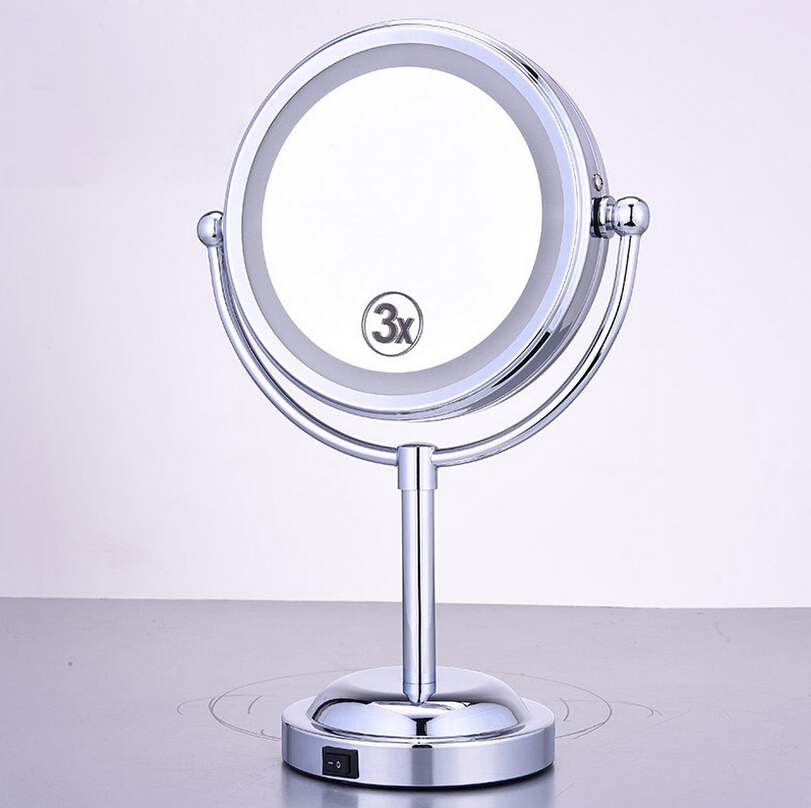 6 inch LED Makeup Mirror Dual Side  Girl Women Lady Beauty Normal 3x Magnifying  Cosmetic mirror Stand Tools <br>